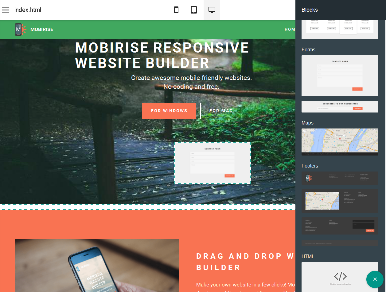 Mobirise is a WYSIWYG a bootstrap 3 web building application easy for a newbie to building mobile friendly websites.
