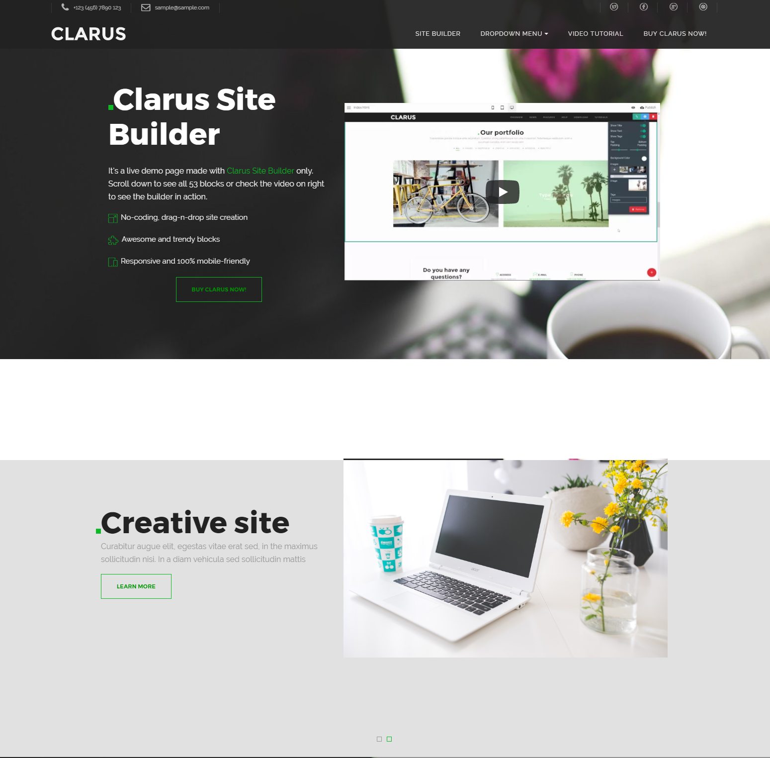 HTML5 Bootstrap Clarus Templates