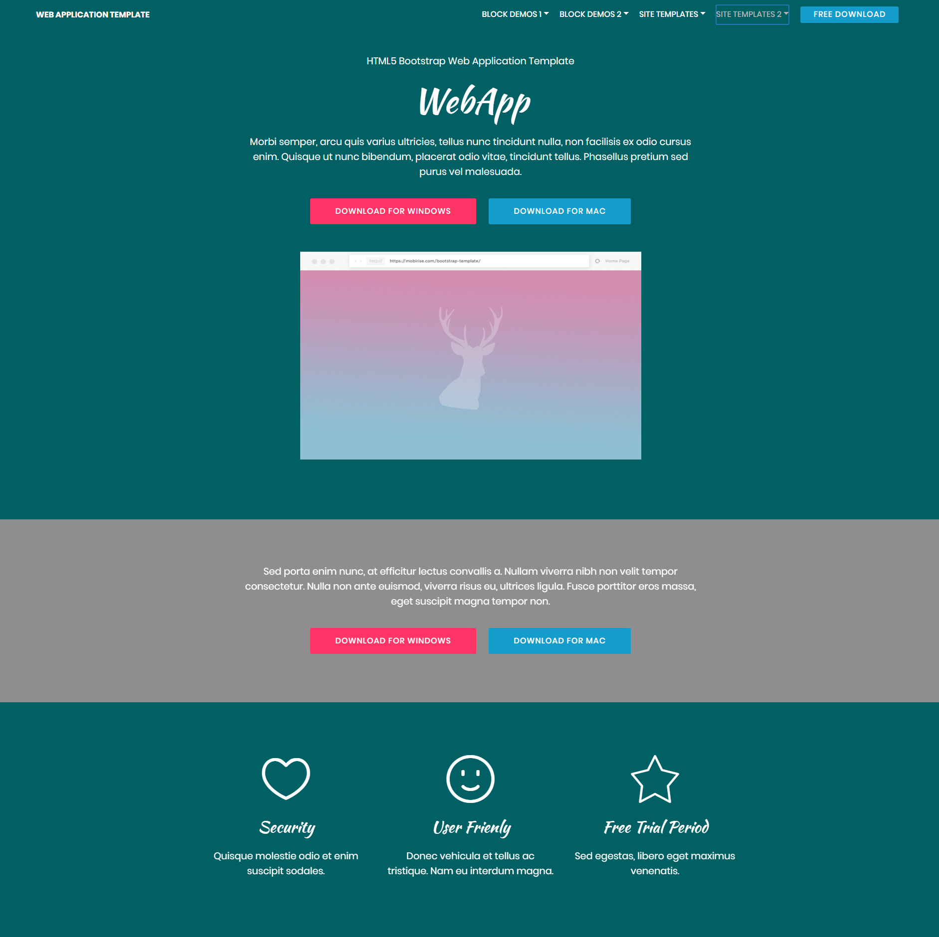 Free Bootstrap Web application Templates