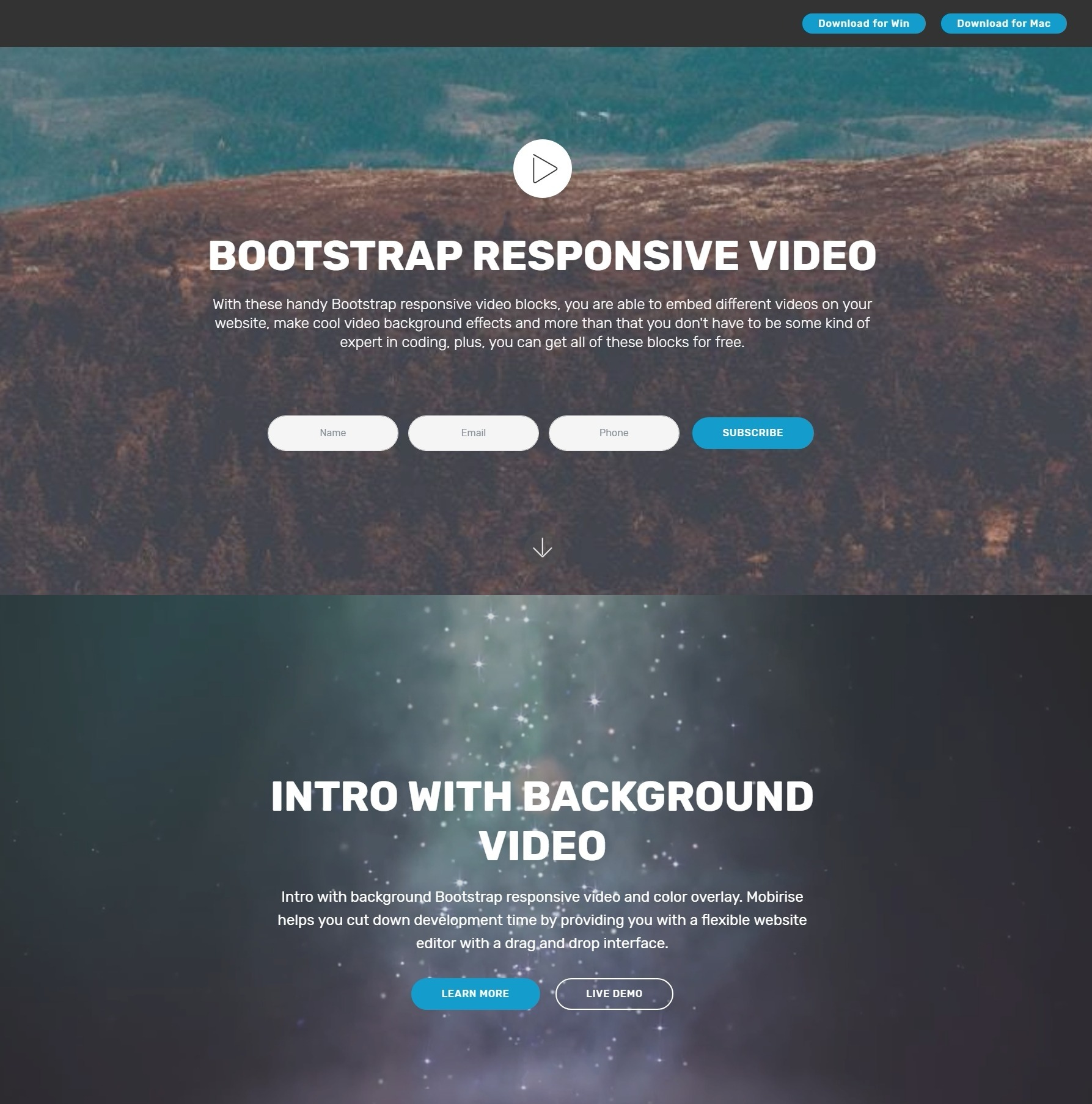 Impressive JavaScript Bootstrap Carousel Video Backgrounds and