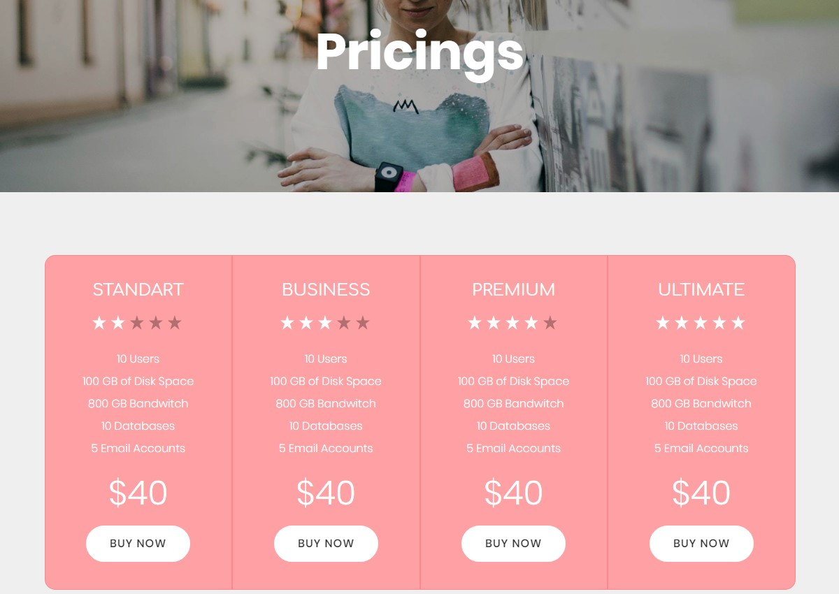 Pricing Table HTML Template