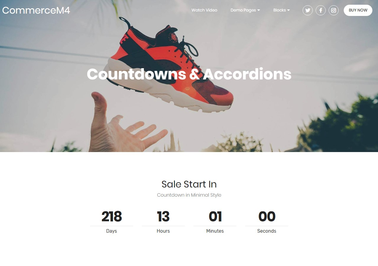 Countdowns and Accordions Template for eCommerce Website