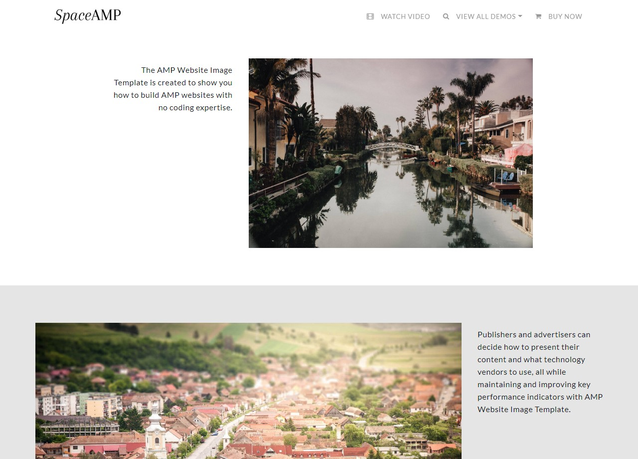 AMP Website Images and Gallery Template