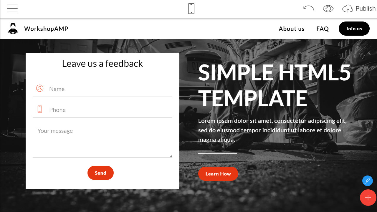 simple html5 template