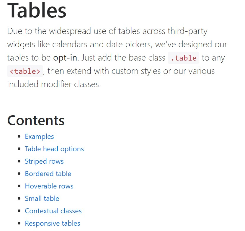 Bootstrap tables  formal  information