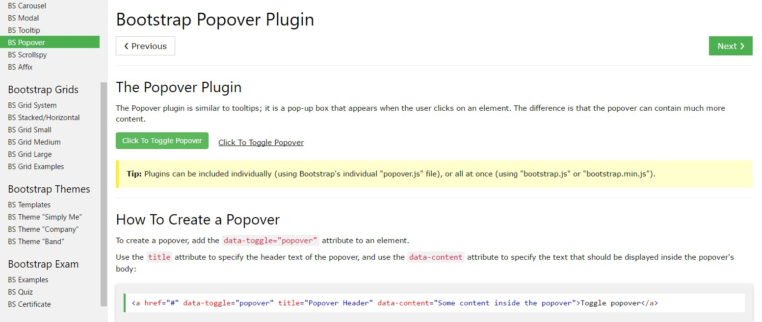 Bootstrap popovers  information