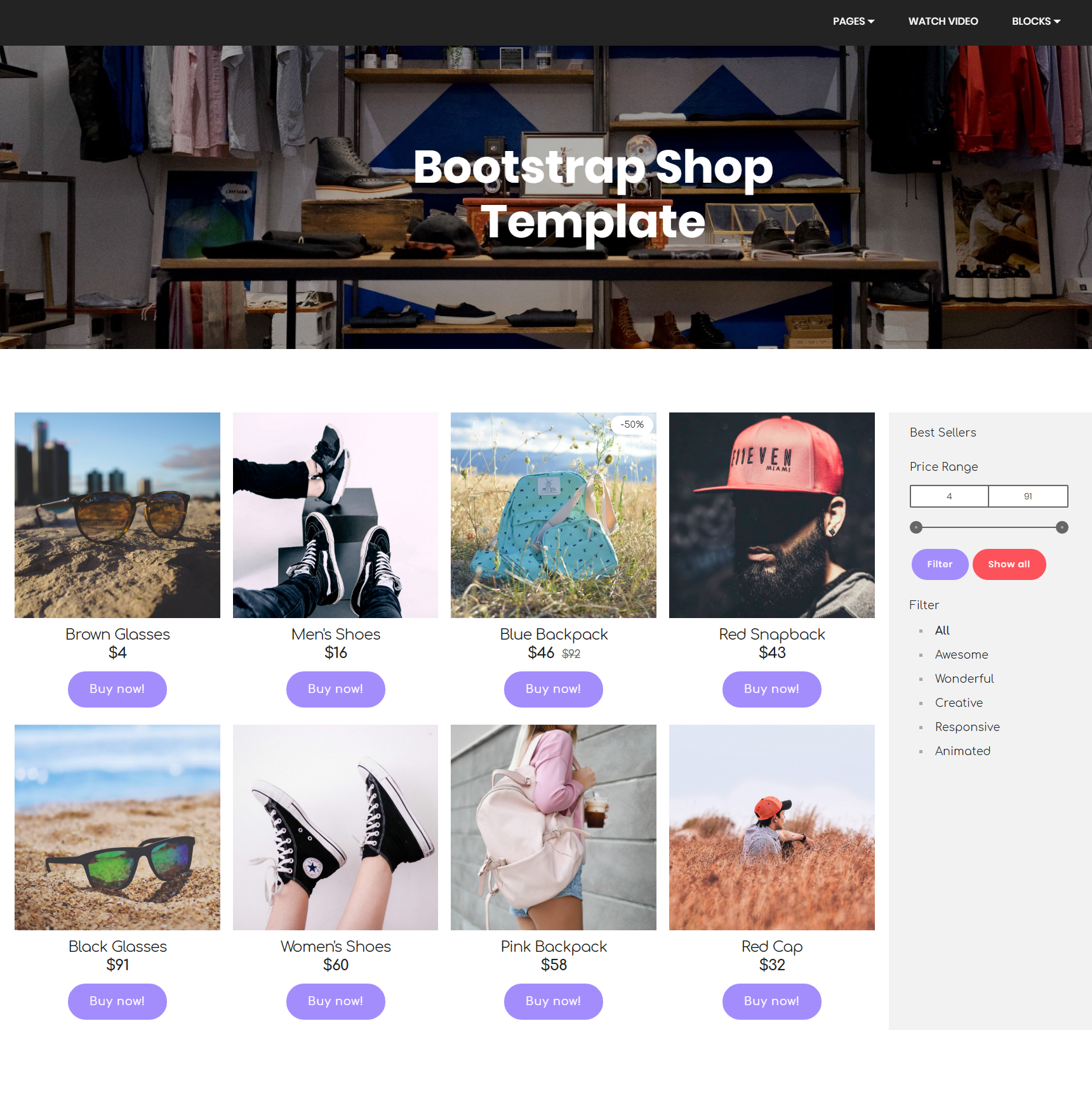 HTML5 Bootstrap Shop Themes