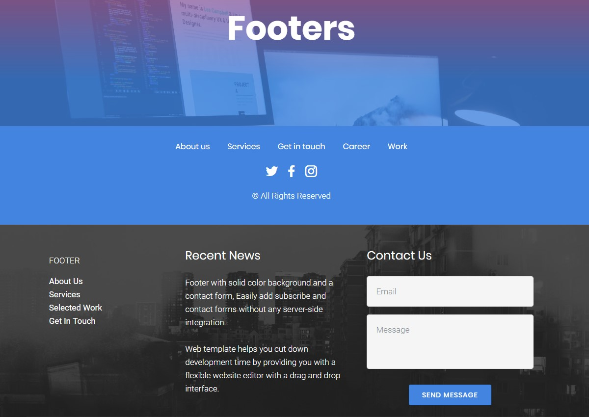 Footer HTML Template