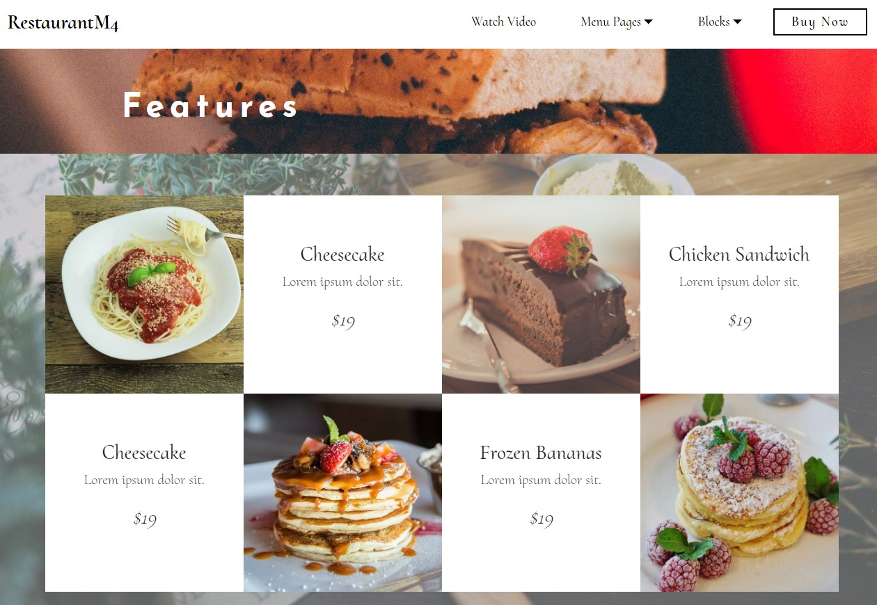 Latest Bootstrap HTML Restaurant Features Template
