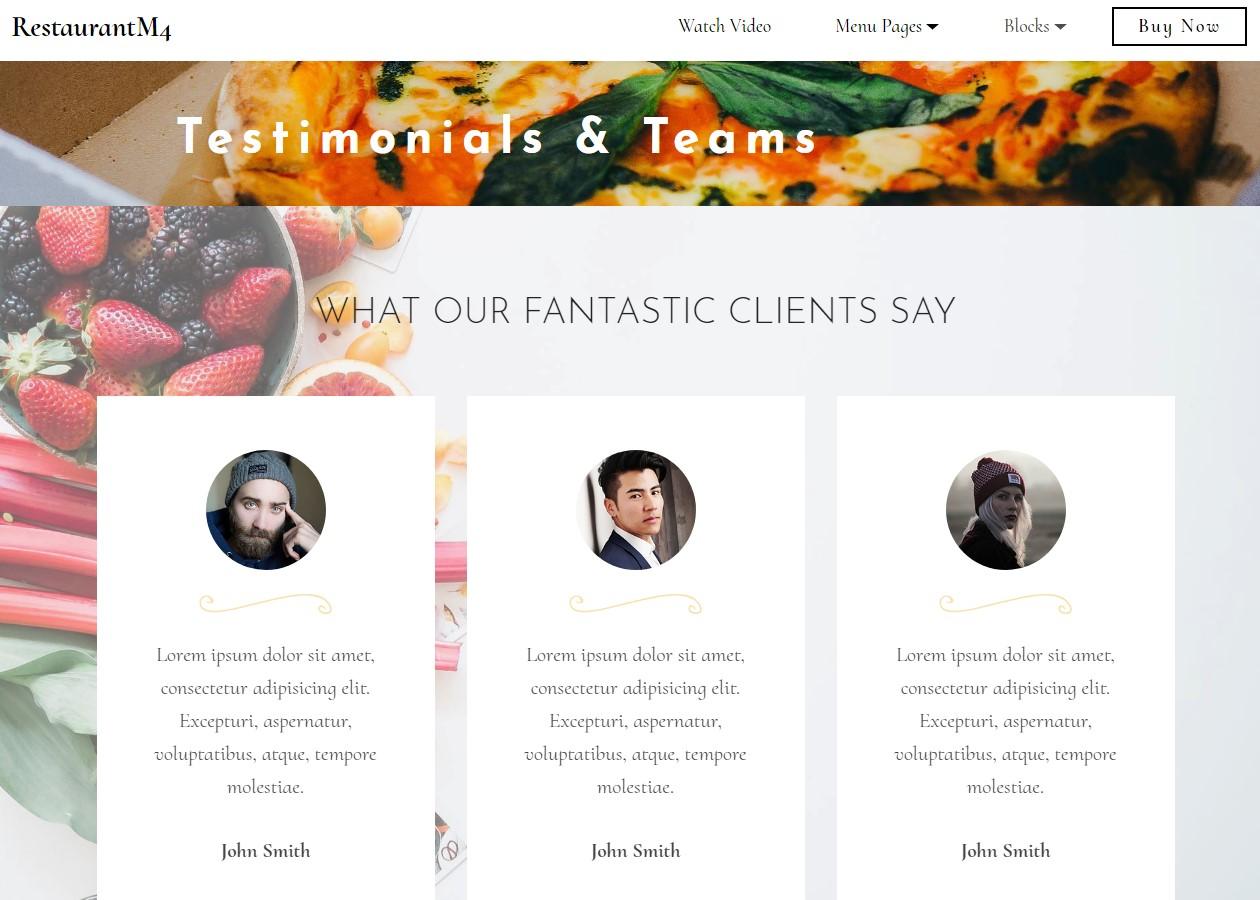 Restaurant Testimonials & Teams Template