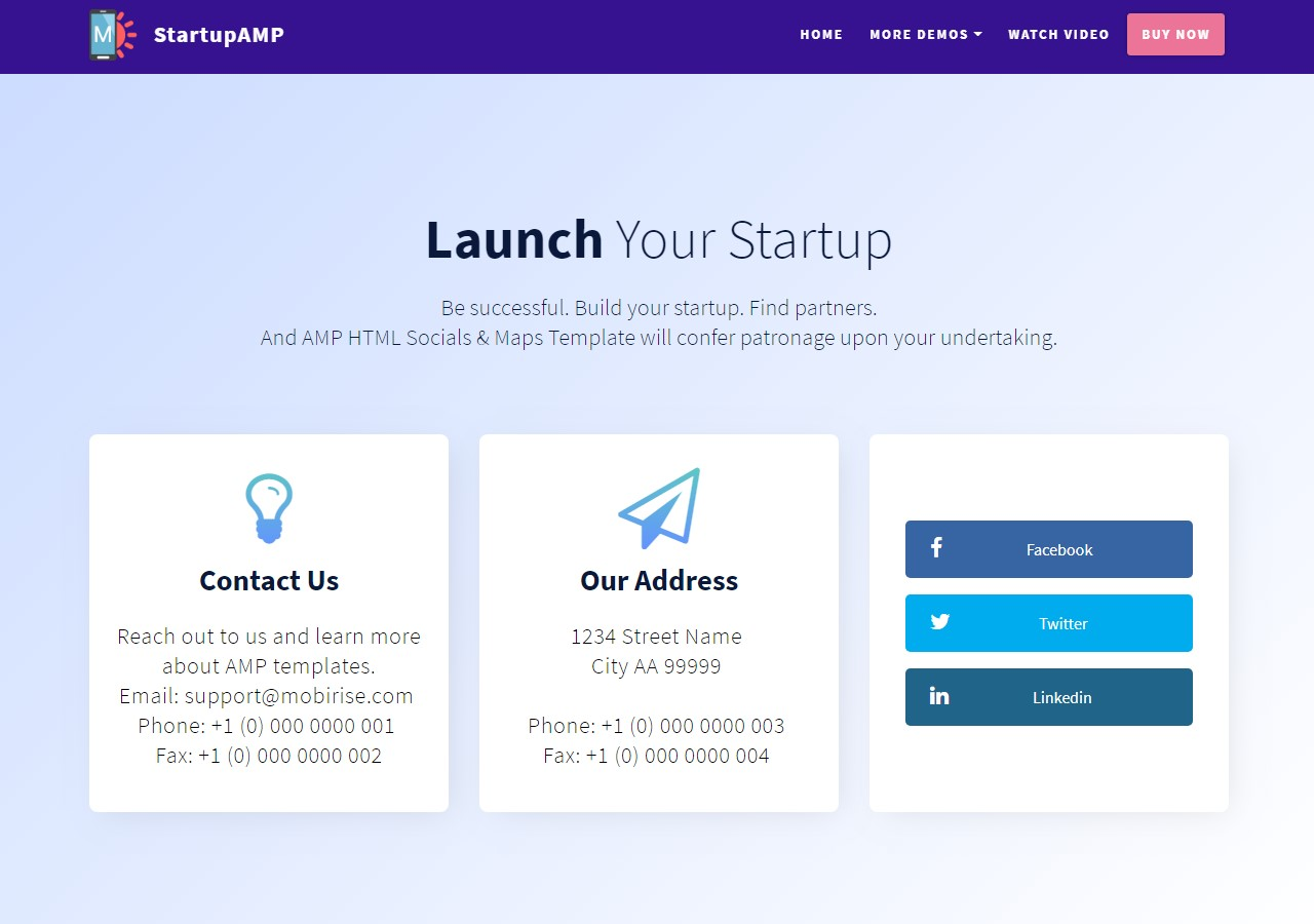 Startup AMP HTML Socials