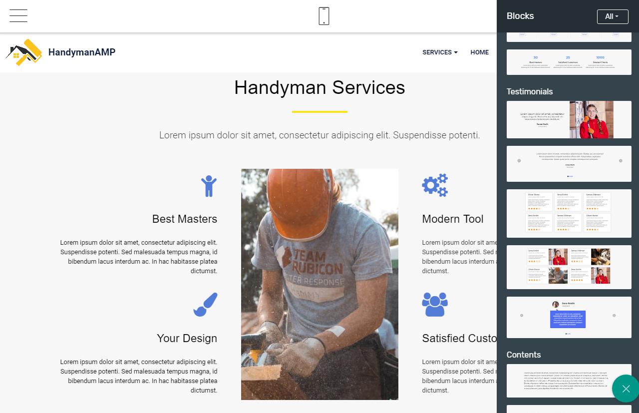 mobirise amp website builder