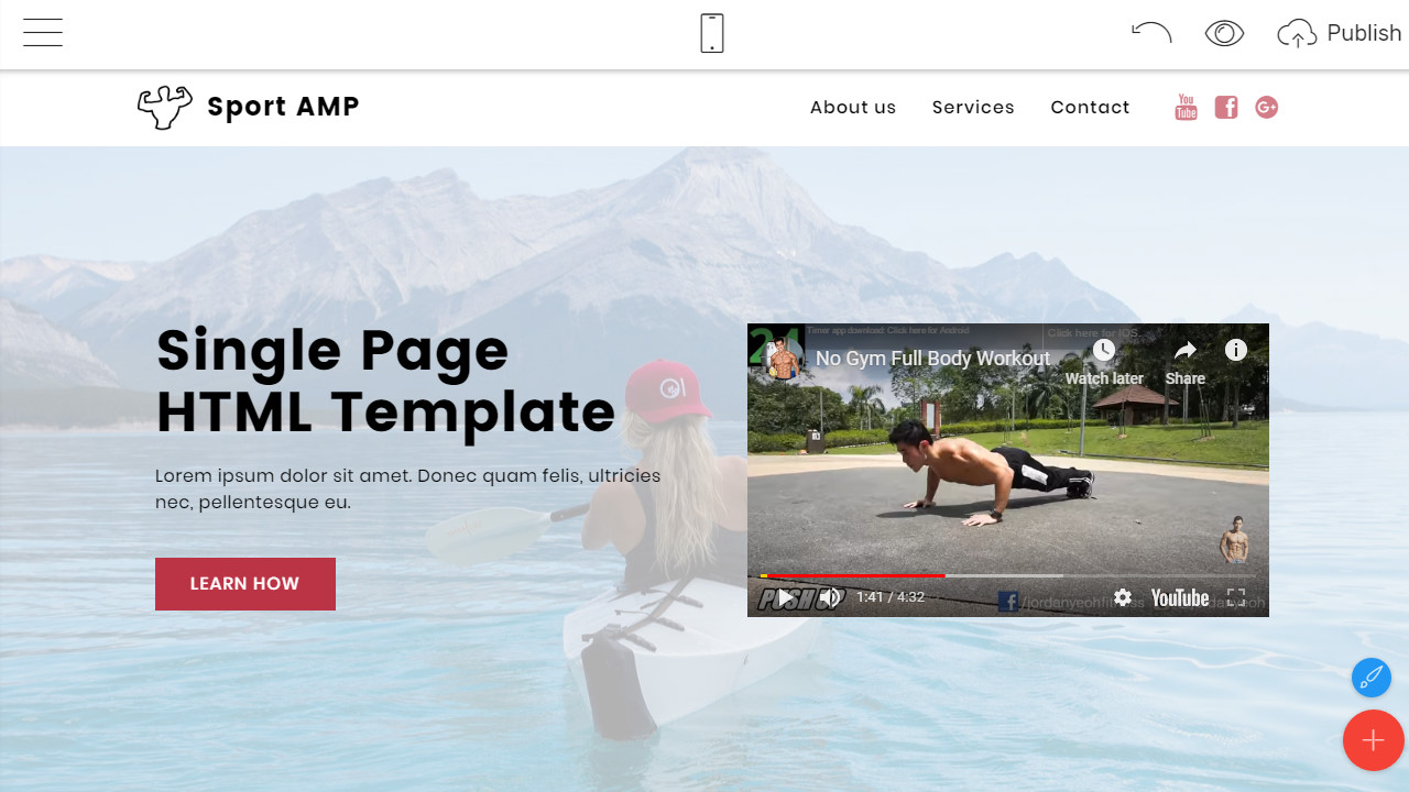 single page html template